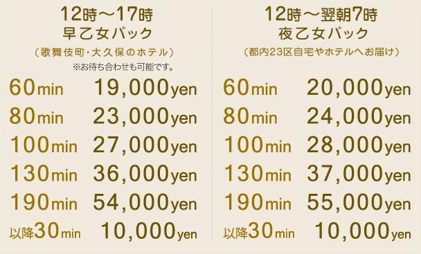 【乙女パック】【歌舞伎町・大久保ラブホテルパック】料金詳細